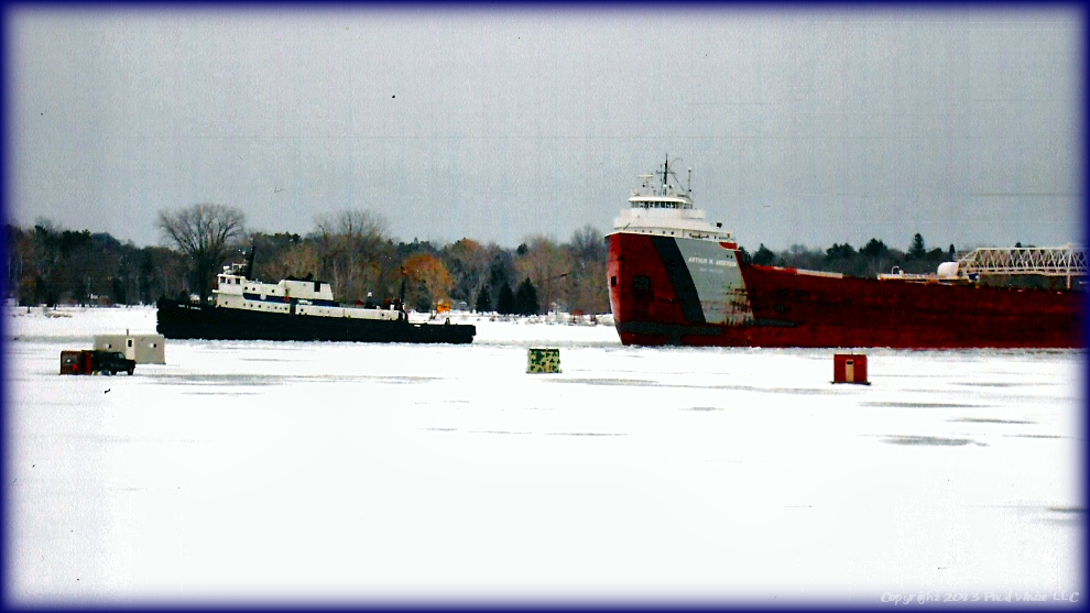 Ship with Tugs in Ice x2