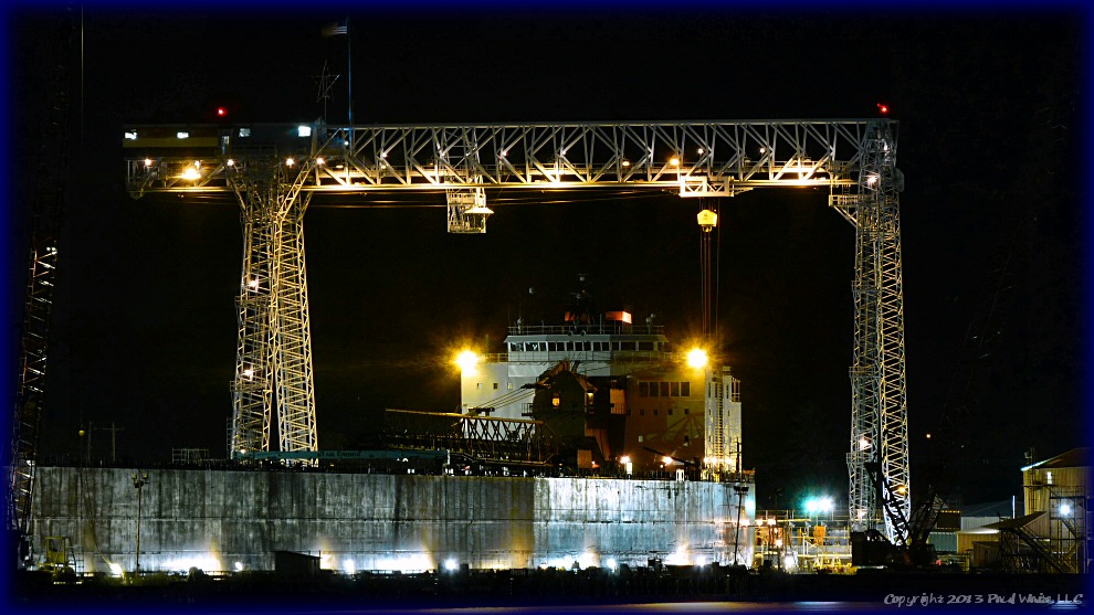 Shipyard at night close up