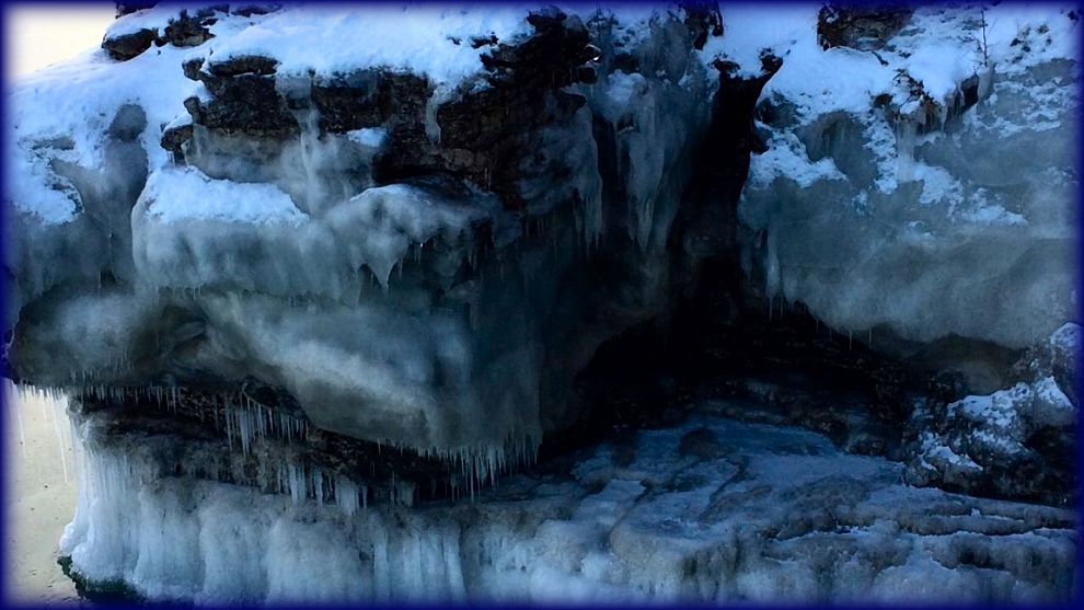 Cave Point ice sheathed cliff